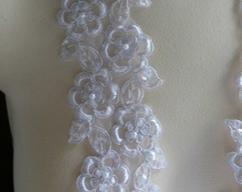 White Embroidered Lace Trim with Faux Pearls for Bridal, Garter Trim, Appliques, Veils, Costumes BL 4001white