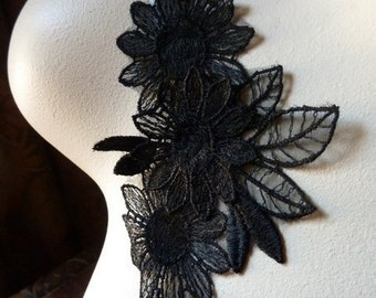 Black Lace Flower Applique for Black Bridal, Jewelry or Costume Design BLA 349