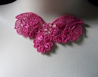 2 Lace Appliques in Fuchsia Pink for Necklaces,  Altered Couture, Costume Design CA 105