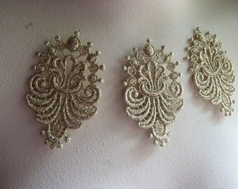 3 LIGHT Gold Lace Appliques for Lyrical, Ballet, Garments, Headbands, Costumes CA 701