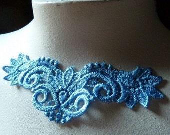 SALE Lace Applique Old Stock Venise Lace  in Alice Blue for Lace Necklaces, Applique, Costumes  CA 760