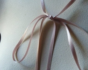 3 yds. Silk Satin Ribbon 4mm wide Double Face in Peach Rose for Bridal, Garters, Headbands, Millinery, Floral Design