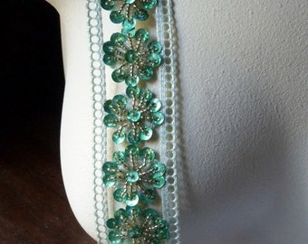 "Beaded Trim 18"" in Green & Silver Metallic  for Headbands, Tribal Fusion, Crafts"