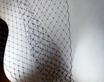 "BLACK 9"" Russian Veiling for Birdcage Veils, Bridal Fascinators, Hats, Costume Design"