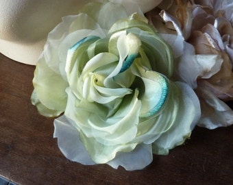 SALE Silk and Organza Rose in Aqua Mint Ombre  for Bridal, Derby, Ascot, Bouquets, Sashes, Costumes MF 137 - 4917