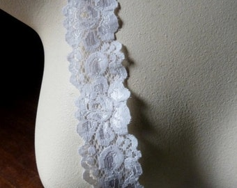 3 yds. Stretch Lace in Cream for Bridal Garters, Headbands, Lingerie STR 1022 cw