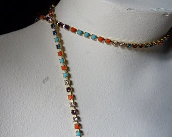 "18"" Rhinestone Chain SS12  in Multicolored Stones for Tribal Fusion, Jewelry or Costume Design"
