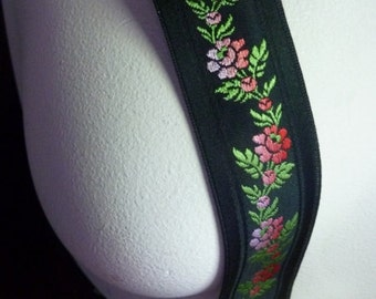 2 yds. Jacquard Ribbon Trim in Black with Roses for Headbands, Costumes, Garments, Crafts TR 217