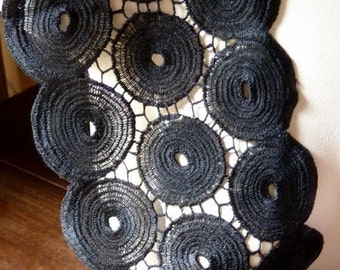 Black Venise Lace for Bridal, Sashes, Applique, Couture, Jewelry or Millinery Design L 8008narrow