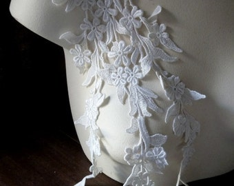 Ivory Lace Applique American made for Bridal, Straps, Lace Jewelry, Costume Design IA 741b