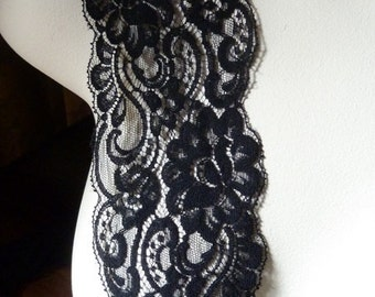 SALE 2 yds. Black Lace Chantilly Lace made in USA for Black Bridal, Invitation Trim, Lingerie, Garments, Costume or Jewelry Design  CH 51