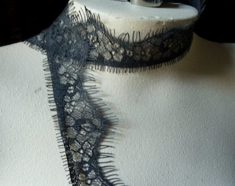 """SALE Chantilly Lace 55"""" in Charcoal Gray for Lingerie, Home Decor, Altered Couture, Costume Design CH 615gr"""