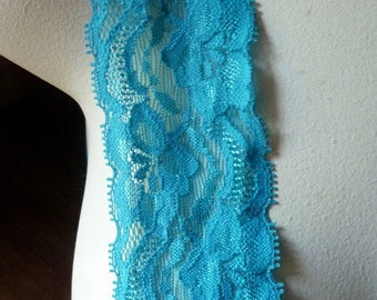 2 yds. Stretch Lace in Teal for Headbands, Lingerie STR 2031