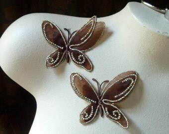 2 BROWN Butterfly Appliques 3 for Headbands, Scrapbooking, Iron On BF