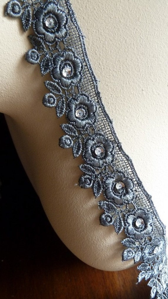 Gray Beaded Lace in for Garments, Costumes  CL 5039
