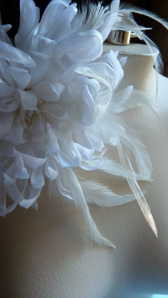 White Chrysanthemum Silk Flower Large With Feathers For