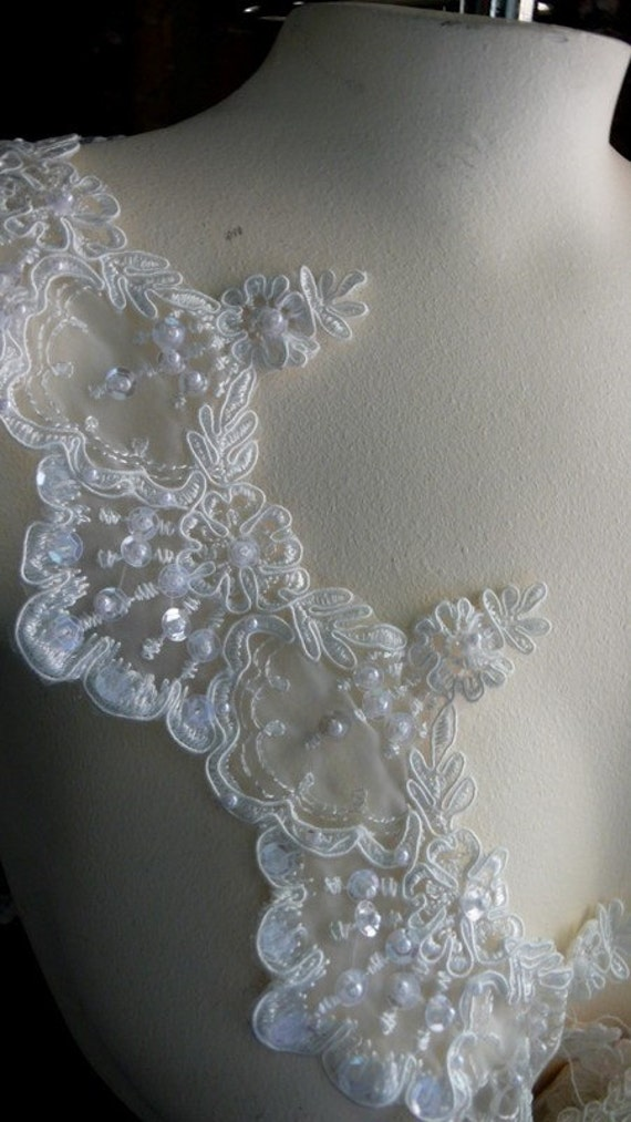Beaded Lace in Cream for Veils, Bridal, Costume or Jewelry Design BRI 24