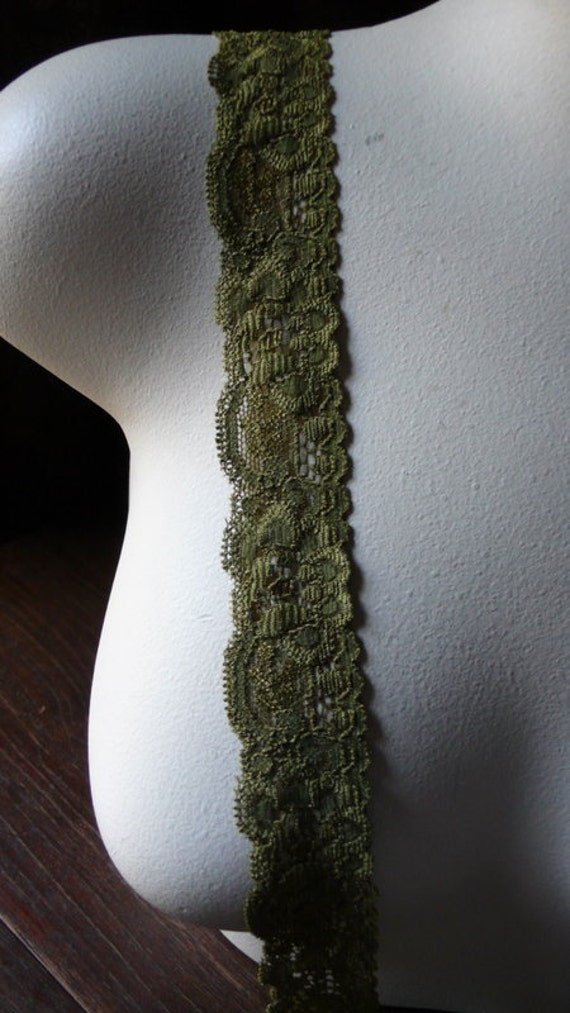 3 yds. Khaki Gold Stretch Lace 3 yards for Lingerie, Headbands  STR 1091