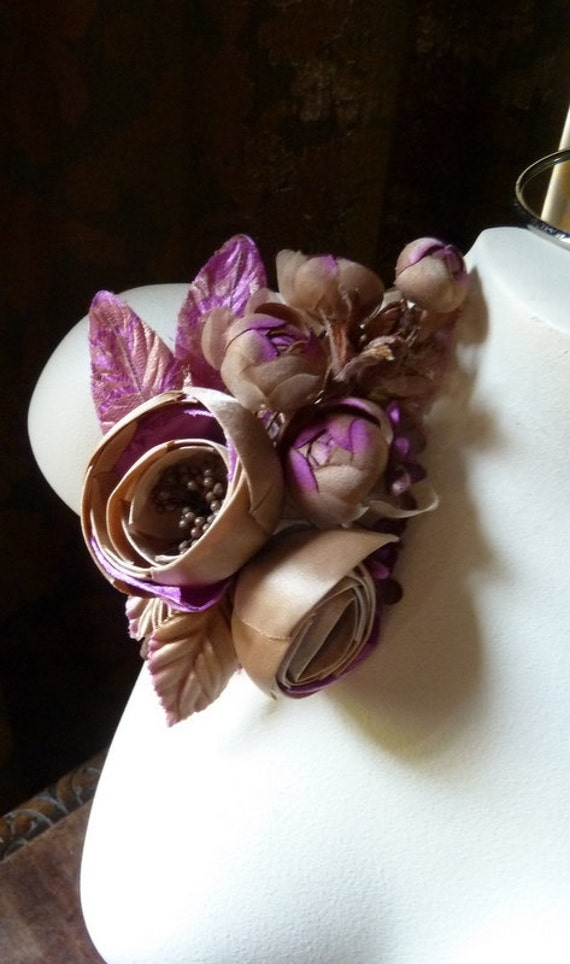 Red Silk Flower In Satin Magnificent Corsage For Bridal