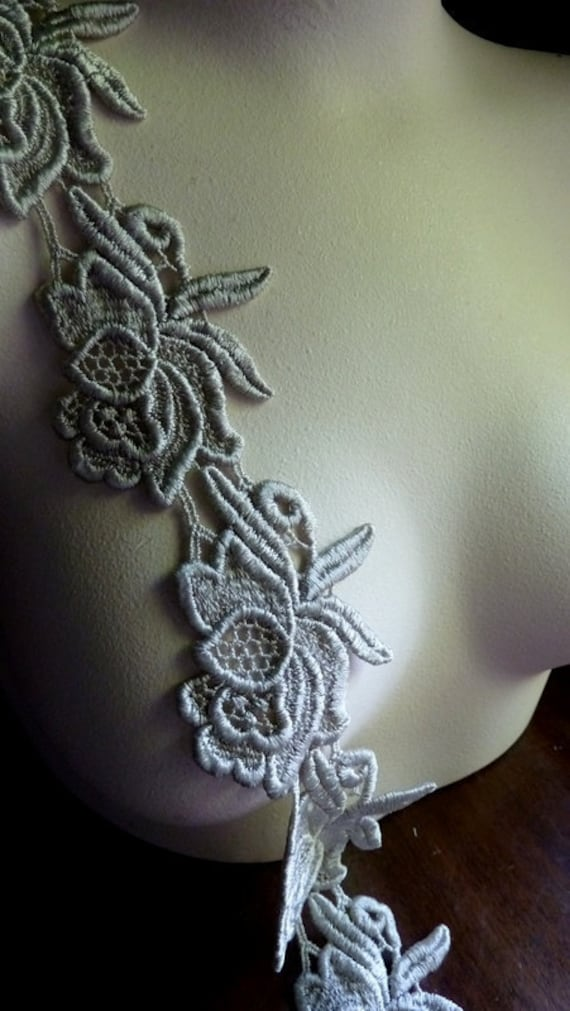 Venice Lace Applique Trim in Sage Gray for Jewelry or Costume Design, Home Decor, Altered Couture CL 6050