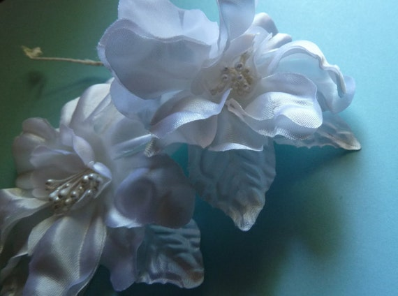 Silk Flower Vintage Satin Millinery in White for Bridal, Corsages, Fascinators, Headbands