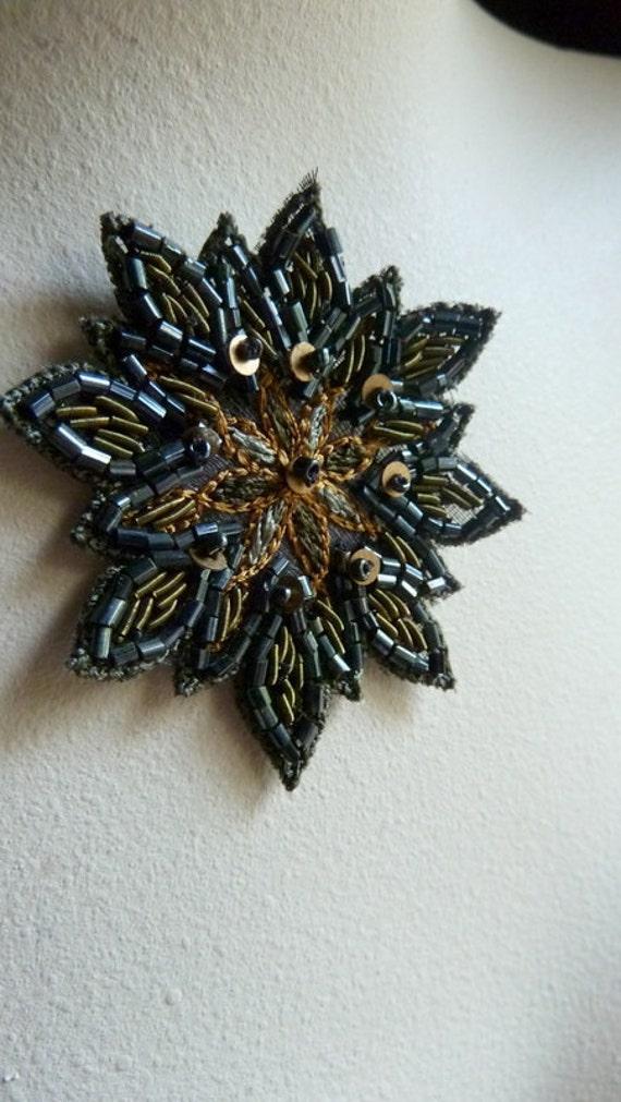 Beaded Applique Exquisite no 28 for Bridal, Handbags, Belly Dance Costumes, Jewelry Design, Home Decor.
