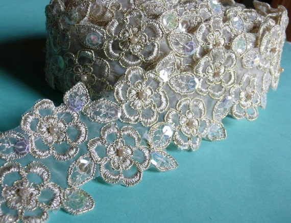 Beaded Lace in Gold Champagne with Faux Pearls for Bridal, Appliques, Headbands, Costume Design