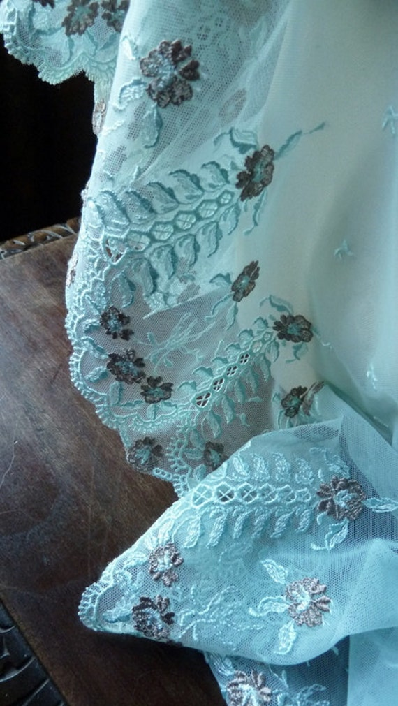 Stretch Lace Remnant in Aqua and Taupe for Altered Couture, Costume, Lingerie or Jewelry Design STR 1608