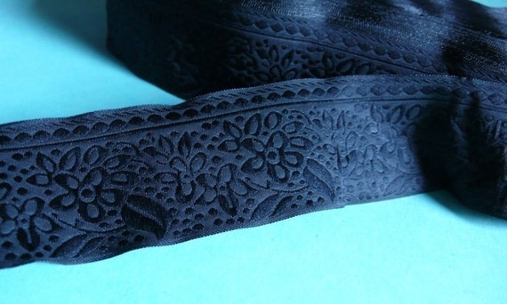 Black on Black Floral Jaquard Trim for Altered Couture, Costume, Millinery or Jewelry Design