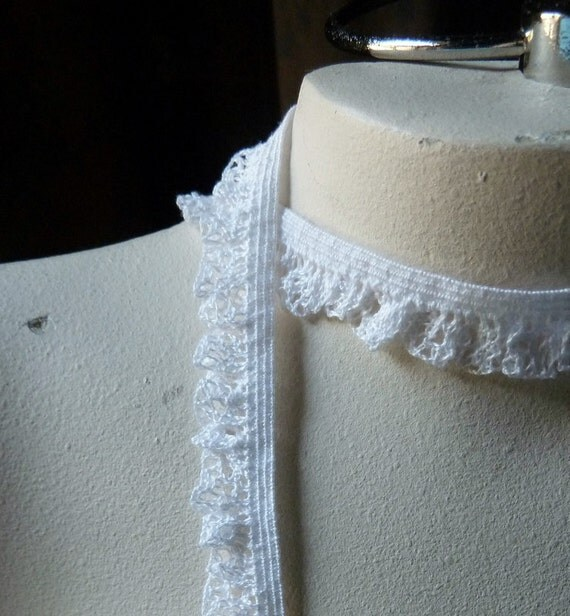 Lace Ruffle 3 yds. in Creamy White on Elastic for Altered Couture, Sewing, Garters EL 200