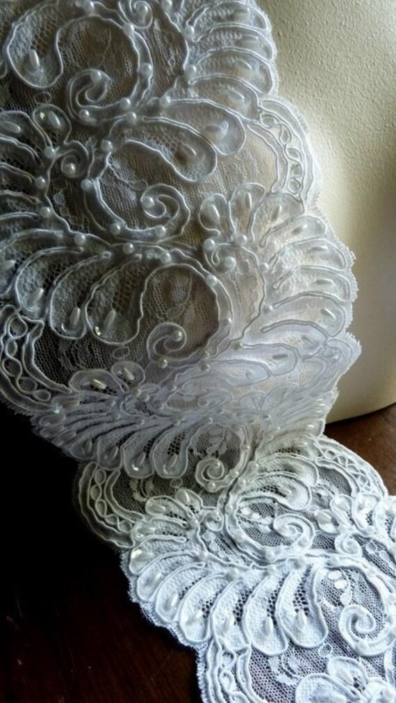 REMNANT Alencon Lace Beaded in Off White for Bridal, Sashes, Cuffs,  Jewelry or Costume Design BRI 31