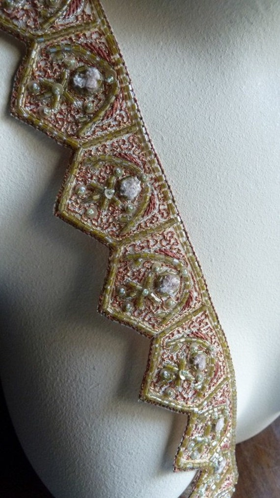 Beaded Trim 1/4 Yard Exquisite no 5 for Headpieces, Handbags, Belly Dance Costumes, Jewelry Design, Home Decor.