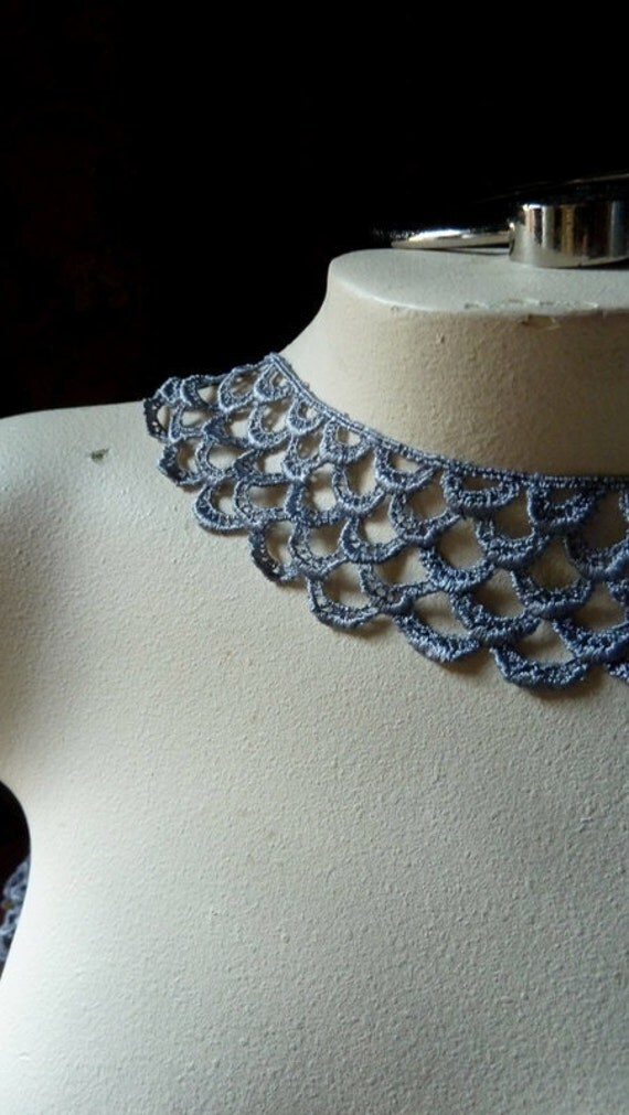 Venice Lace in Silver Gray for Garters, Cuffs, Altered Couture, Jewelry or Costume Design CL 6009