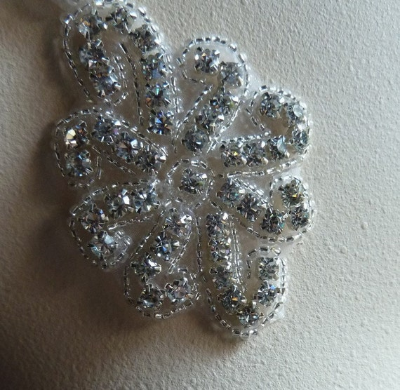 SALE Rhinestone Applique for Bridal Headpieces or Sashes, Costume or Jewelry Design  RA 1