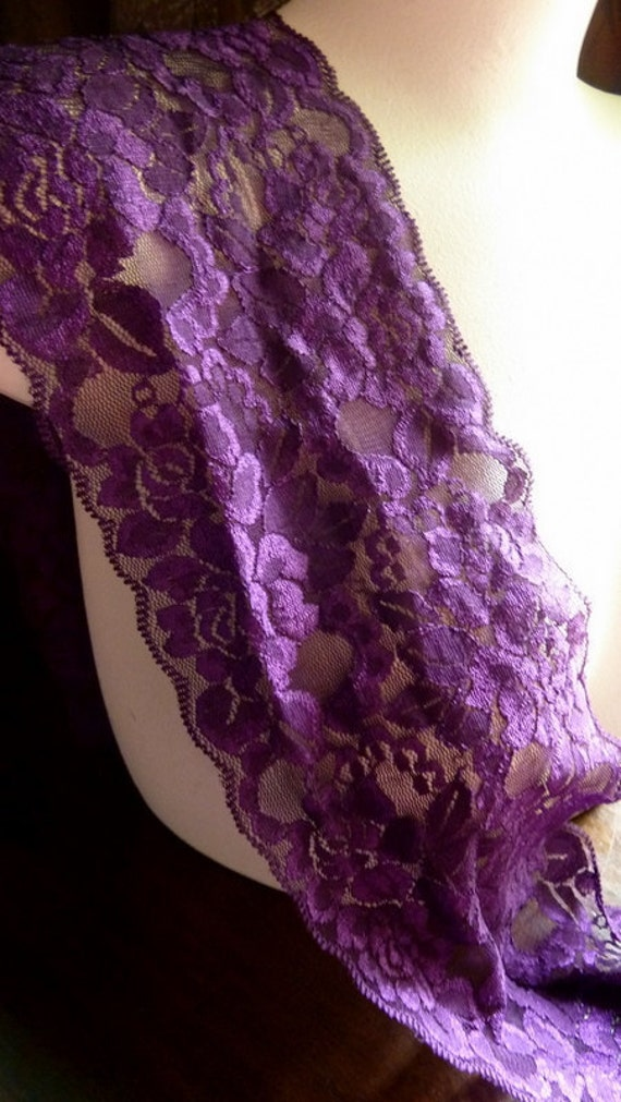 LAST Piece - 1.5 YARDS Stretch Lace in Magenta for Lingerie, Altered Couture, Sewing  STR 2009