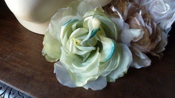 Silk Rose in Teal and Green for Hats, Bouquets, Costume Supply, Couture, Fascinators