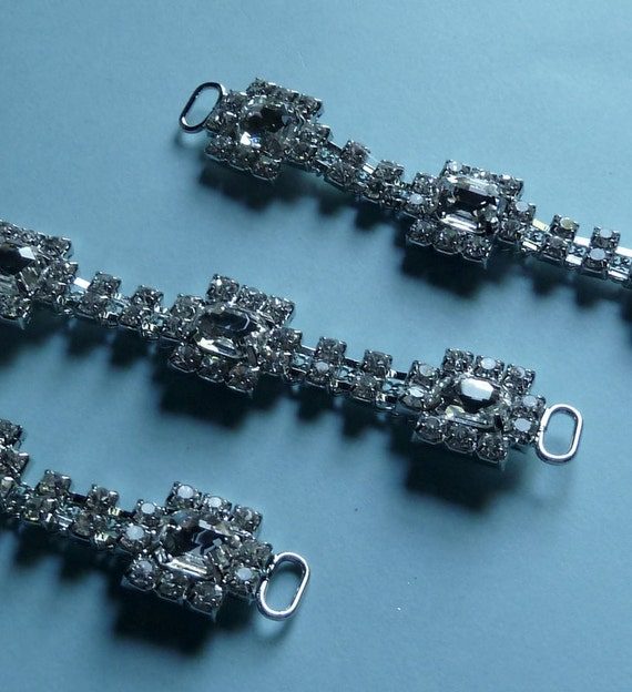 Rhinestone Connectors 3 smaller size for Jewelry, Bridal or Costume Design