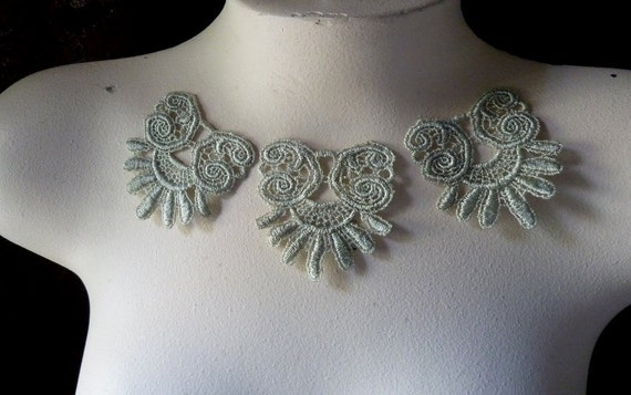 Medallion Motif Appliques 3 in Sage Green Lace for Jewelry, Headbands, Sewing