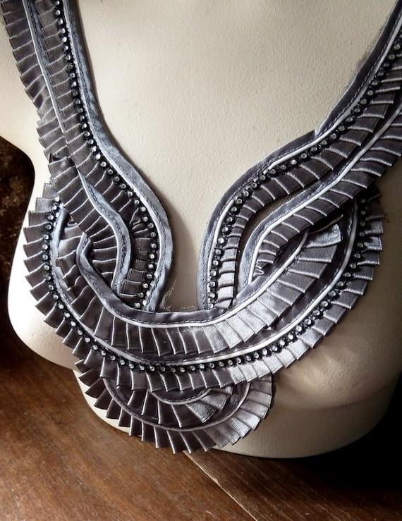 Applique in Gray Satin with Rhinestone Trim for Grad, Tribal Fusion, Bellydance or Costume Design CA 117