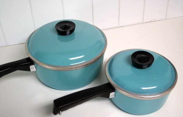 Treasury Item Vintage Club Aluminum Cookware In Turquoise By
