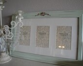 Shabby Chic Cottage Pale Green Wood Photo Frame with Roses