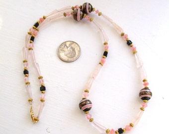 Rose Quartz and Vintage Antique Italian Glass Bead Necklace