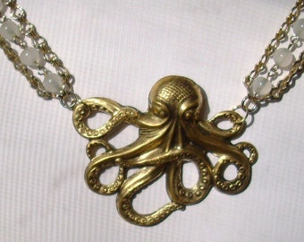 Steampunk Octopus Vintage Three Strand 22 Inch Necklace