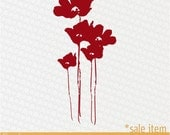 Vinyl Wall Graphic SALE item- DEEP RED Poppy Bunch Decal, Sticker