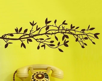 Tree Branch Vinyl Wall Decal SALE-  Small Leafy Branch Graphic item 30022 Vinyl Wall Decal, Sticker