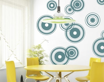 Retro Bullseye Circles Vinyl Wall Decal, Retro Bullseyes - 12 graphics, Wallpaper, Stickers, Vinyl Wall Graphics, item 10001