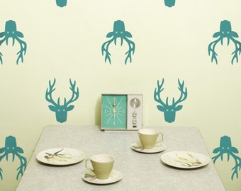 Vinyl Wall Decal, Deer Head Trophy- 10 graphics, Wallpaper, Stickers, Antlers, item 10035