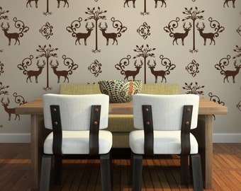 Large Deer and Tree Damask Vinyl Wall Decals- 20 graphics, Wallpaper, Stickers, Wall Pattern,  item 10036