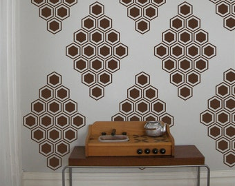 Hexagon Vinyl Wall Decals, Honeycomb Diamonds- 12 Graphics, Wallpaper, Stickers,  item 10038