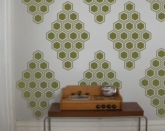 Honeycomb Diamonds Vinyl Wall Decals - 12 Graphics, Vinyl Wall Graphics, Bees, Hexagon, Wallpaper, Stickers,  item 10038Honeycomb Diamonds